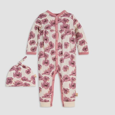 Burt's Bees Baby® Baby Girls' Dancing Poppy Organic Cotton Jumpsuit & Knot Top Hat Set - Pink/Off White 3-6M