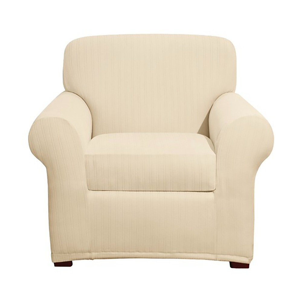 Cream (Ivory) Stretch Pinstripe 2pc Chair Slipcover - Sure Fit