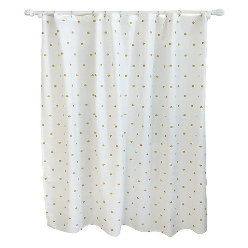 Metallic Dot Shower Curtain White