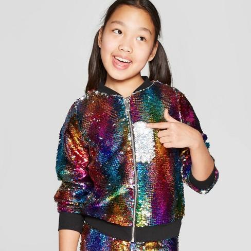 1493a7387af Girls' Nickelodeon JoJo's Closet Flip Sequin Rainbow Bomber Jacket