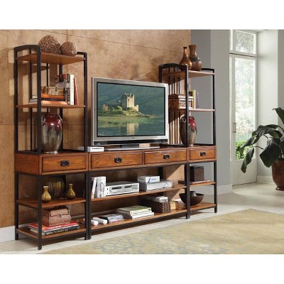 Modern Craftsman Entertainment Center Oak - Home Styles
