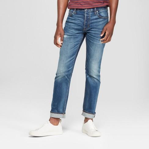 Men's Slim Stretch Selvedge Jeans - Goodfellow & Co™ Medium Wash - image 1 of 3