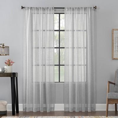 Celeste Textured Linen Blend Sheer Rod Pocket Curtain Panel - Scott Living
