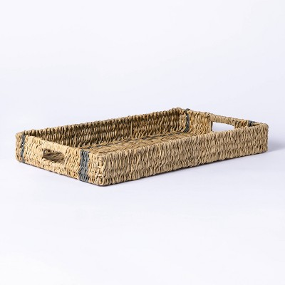 Large Manmade Outdoor Wicker Tray Gray Stripes - Threshold™ designed with Studio McGee