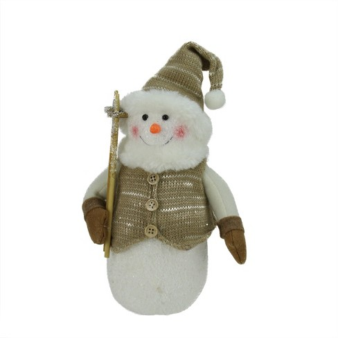 """Northlight 10"""" Brown and White Snowman with Ski Poles Christmas Decor - image 1 of 1"""