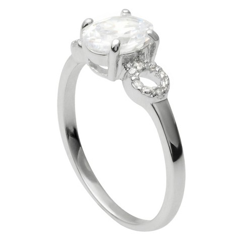 1 1/2 CT. T.W. Oval-cut Cubic Zirconia Bridal Basket Set Ring in Sterling Silver - Silver - image 1 of 2