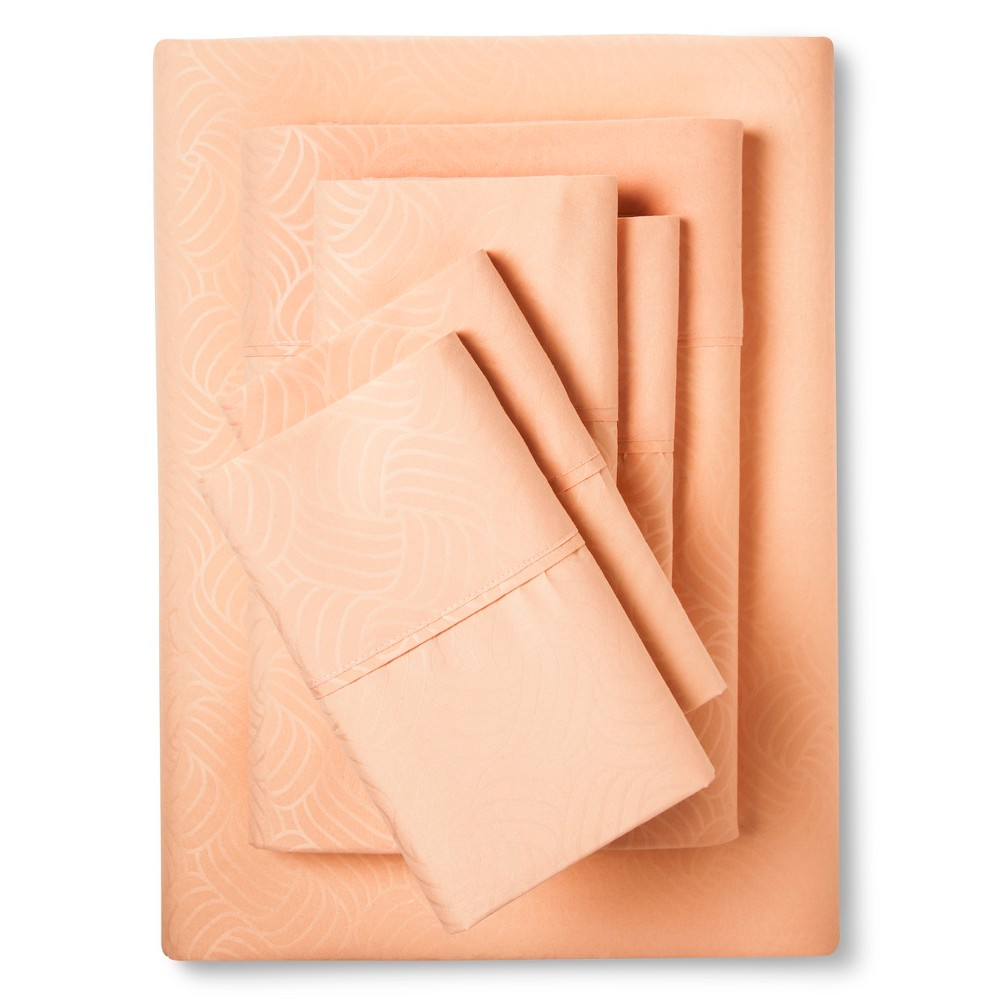 Image of Christopher Knight Home Natalia Cavalletto Swirl Design Sheet Set - Coral (Pink) (Queen)
