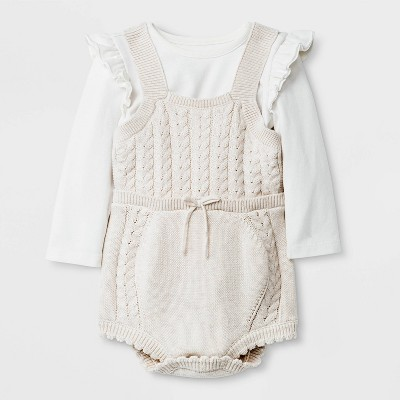 Baby Girls' Cable Sweater Rompers Set - Cat & Jack™ Cream 0-3M