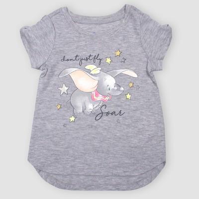 Toddler Girls' Disney Dumbo Short Sleeve T-Shirt - Gray 3T