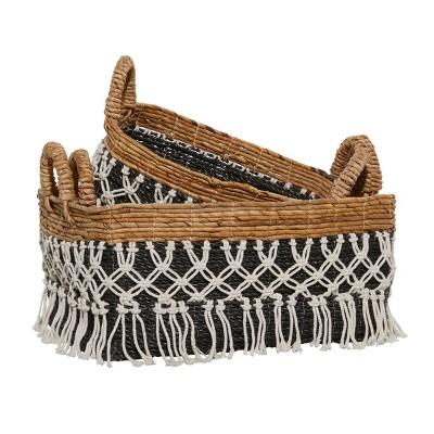 3pk Cotton Storage Baskets Black