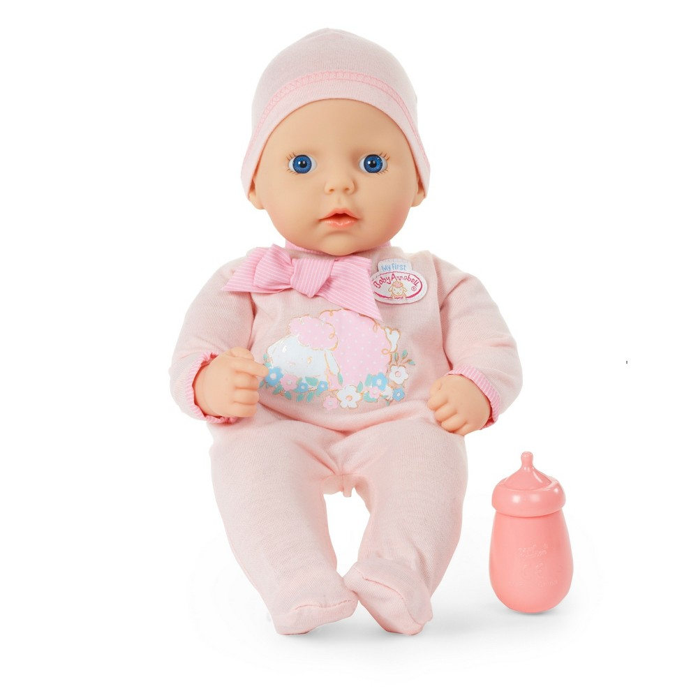 My First Baby Annabell Baby Doll Baby Annabell is the lifelike baby doll that looks, feels, and acts like a real baby. Her soft body and adorable face make her the perfect first companion for little ones. She loves to be cuddled and taken care of, just like a real baby! Get started caring for a sweet baby of your very own with My First Baby Annabell. This beautiful doll with a soft, cuddly body and bright blue eyes looks and feels like a real baby. Give her a drink from her pink bottle, then put her down for a nap. Gender: Unisex.