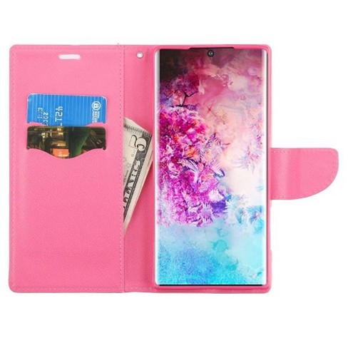 Insten Liner MyJacket Flip Leather Fabric Cover Case Lanyard w/stand/card holder For Samsung Galaxy Note 10 Plus - Pink - image 1 of 3