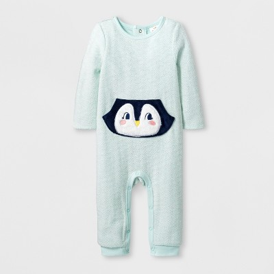 Baby Girls' Long Sleeve Furry Fleece Penguin Pocket Romper - Cat & Jack™ Mint 0-3M