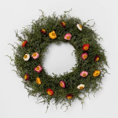 """18"""" Decorative Straw Flower Wreath - Opalhouse™"""