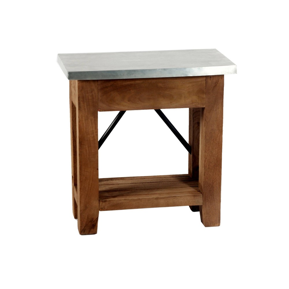 Millwork End Table With Shelf Wood And Zinc Metal Silver Light Amber Alaterre Furniture