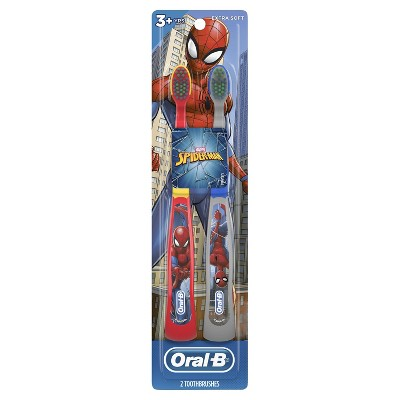Oral-B Kid's Manual Toothbrush featuring Marvel's Spider-Man Soft Bristles for Children and Toddlers - 2ct