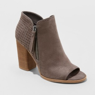 Women's Collie Open Toe Laser Cut Heeled Bootie - Universal Thread™ Gray 8.5