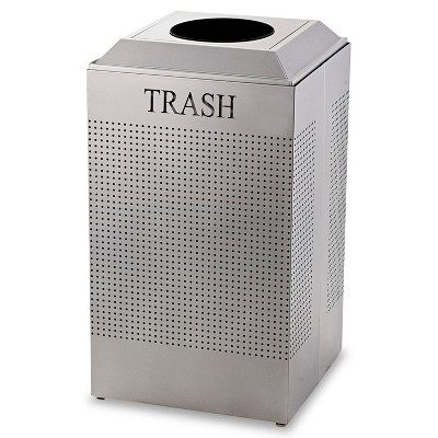 Rubbermaid Commercial Silhouette Waste Receptacle Square Steel 29gal Silver Metallic DCR24TSM