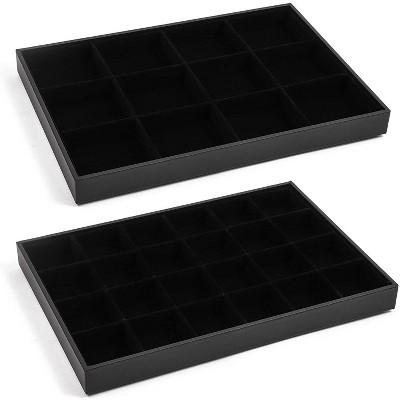 Black Jewelry Storage Trays Organizer Set with Clear Lid (13.5 x 9.5 Inches)