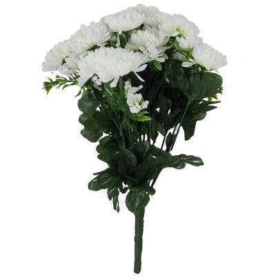"Allstate Floral 14"" Green/White Flowering Chrysanthemum Artificial Floral Arrangement"