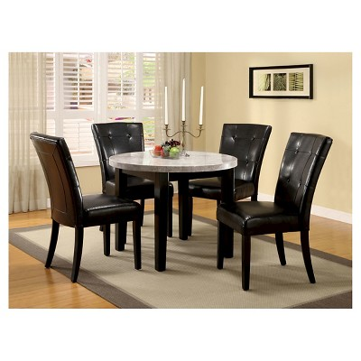5 Piece 40 Inch Ivory Marble Top Round Dining Table Set Espresso   Furniture  Of America