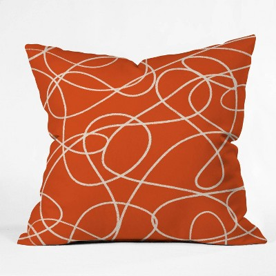 Zoe Wodarz Scribble Up Throw Pillow Orange - Deny Designs