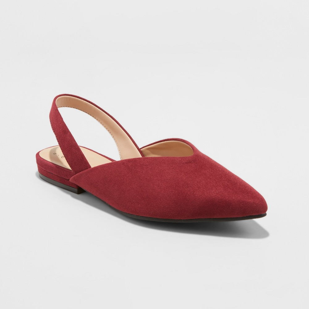 Women's Pam Wide Width V Throat Sling Back Mules - A New Day Burgundy (Red) 5.5W, Size: 5.5 Wide