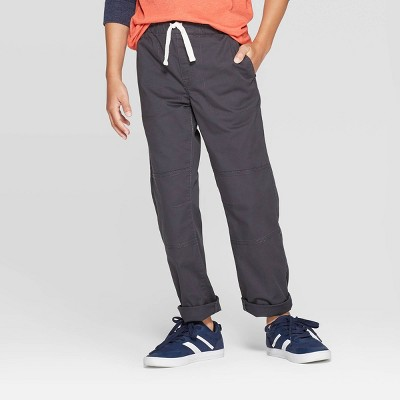 Boys' Stretch Straight Fit Pull-On Woven Pants - Cat & Jack™ Charcoal 8