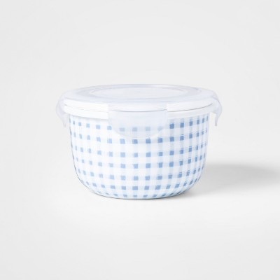22.1oz Food Storage Container Blue Gingham Decal - Threshold™