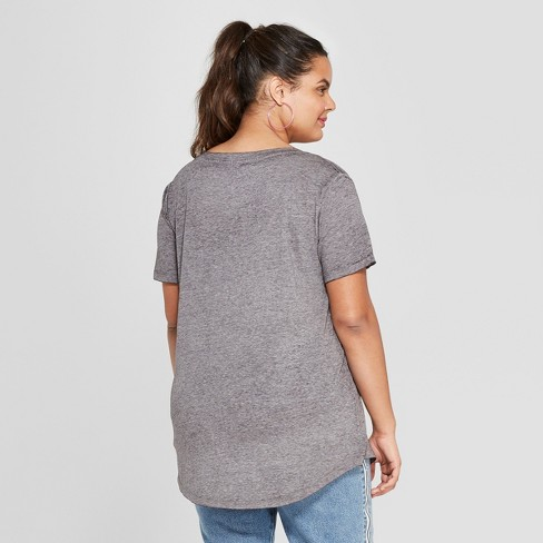 b7333763a6b3c Women's Plus Size Short Sleeve Pink Wine Graphic T-Shirt - Zoe+Liv - Gray :  Target