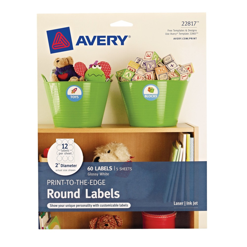60ct Round Labels 2 White - Avery