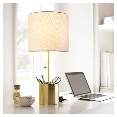 Stick LED Table Lamp with Plated Storage Cup Base T20, Brass - Room Essentials™