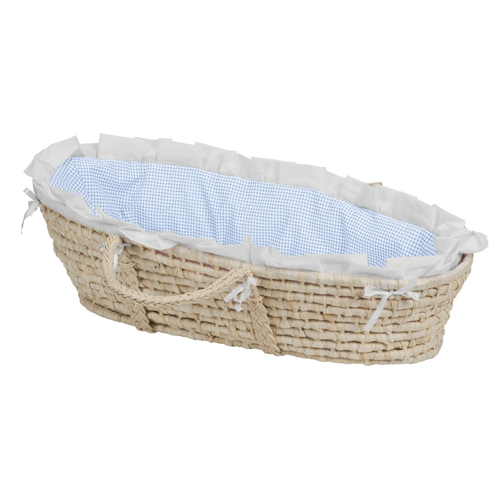 Image of Badger Basket Natural Moses Basket Bedding - Blue Gingham