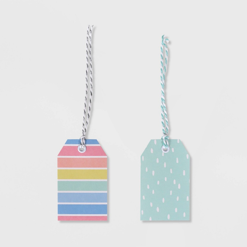 Image of 10ct 2 Patterned Striped/Dotted Gift Tag - Spritz