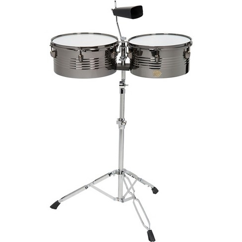 Sound Percussion Labs Baja Percussion Set of Timbales with Cowbell and Adjustable Stand 13 and 14 in. Black Chrome - image 1 of 1
