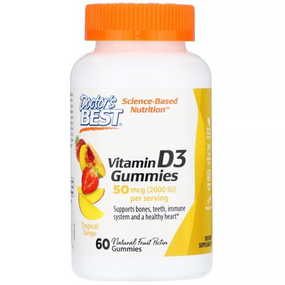 Doctor's Best Vitamin D3 Gummies, Tropical Tango, 50 mcg (2,000 IU), 60 Gummies, Vitamin D