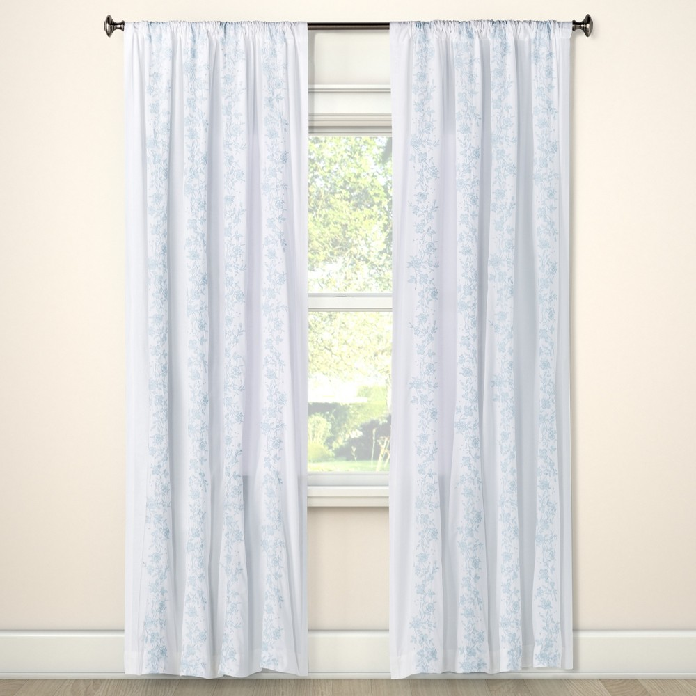 Curtain Panels Blue Opaque Floral 95 - Simply Shabby Chic