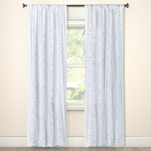 Floral Embroidered Stripe Curtain Panels Blue Opaque - Simply Shabby Chic® - image 1 of 2