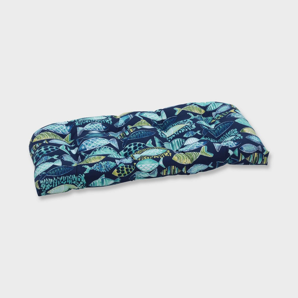 Hooked Lagoon Wicker Outdoor Loveseat Cushion Blue - Pillow Perfect
