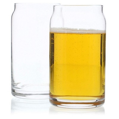 Juvale 2-Pack Clear Can-Shaped Beer Glasses 16 Oz