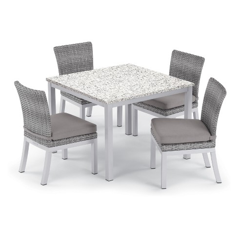 Strange 5Pc Travira 39 Ash Dining Table Argento Side Chair Set Gray Cushions Oxford Garden Download Free Architecture Designs Rallybritishbridgeorg