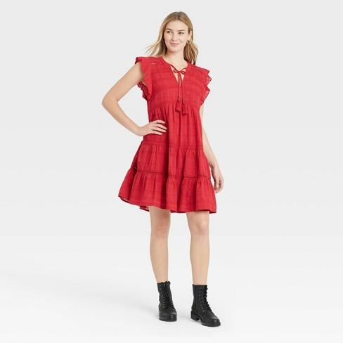 Women's Short Sleeve Peasant Dress - Knox Rose™ Red - image 1 of 3