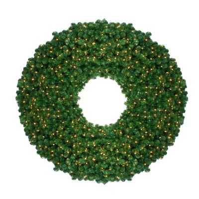 """Northlight 48"""" Pre-Lit Olympia Pine Artificial Christmas Wreath - Warm White Lights"""