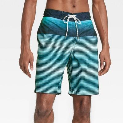"Men's 9"" Striped Regular Fit Board Shorts - Goodfellow & Co™ Blue"