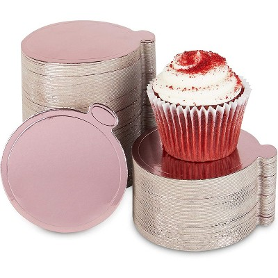 Sparkle and Bash 200 Pack Mini Round Cake Boards, Rose Gold Foil Dessert Base (3.5 Inches)