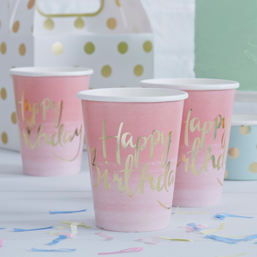 """Image of """"8ct """"""""Happy Birthday"""""""" Paper Cups Pink"""""""