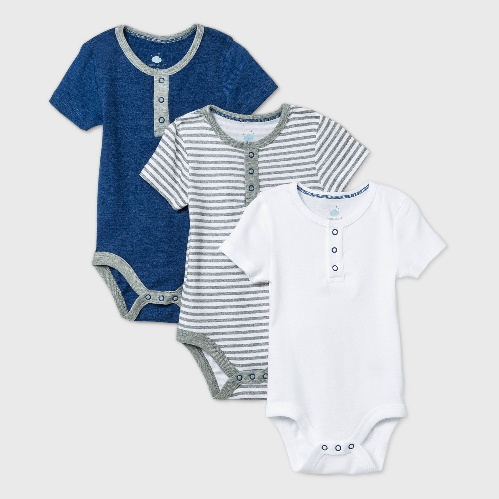 Baby Boys 39 3pk Short Sleeve Basic Bodysuit Cloud Island 8482 Navy 0 3m