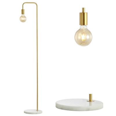 """60"""" Metal/Marble Minimalist Edison Floor Lamp (Includes LED Light Bulb)Gold - Jonathan Y"""
