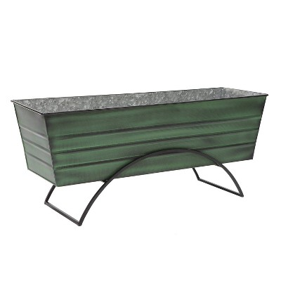 """35.25"""" Large Galvanized Steel Flower Box with Odette Stand Green - ACHLA Designs"""