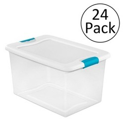Sterilite 64 Quart Latching Plastic Storage Box, Clear w/ Blue Latches